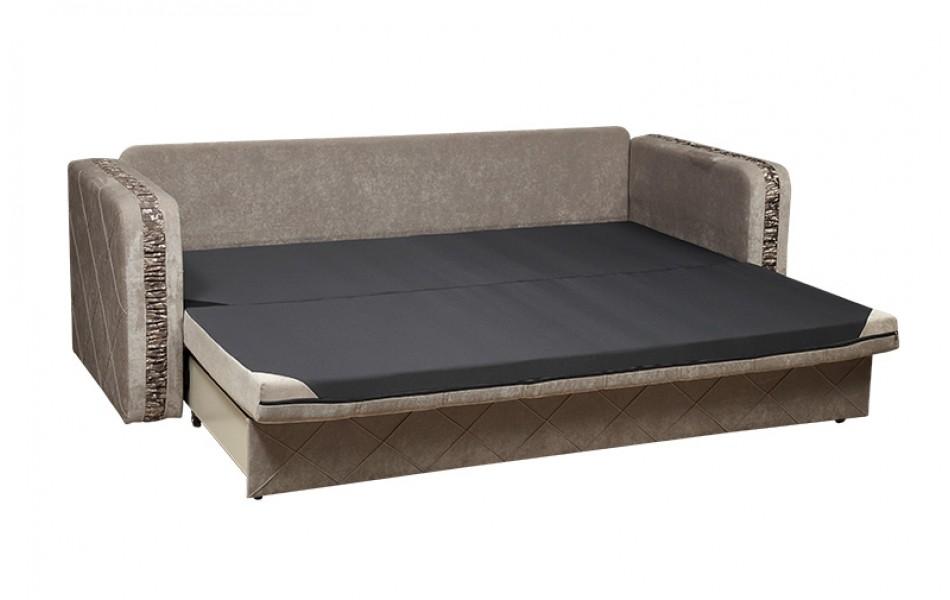 """Диван - кровать """"Енисей"""" (Восток) (микровельвет светло - серый/жаккард виши/велюр бронза)/осн."""