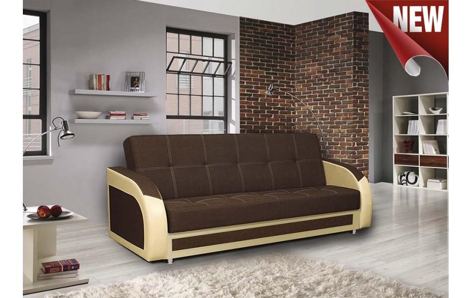 """Диван - кровать """"Феникс NEW"""" (рогожка коричневая/кож. зам. бежевый TEX CREAM)/осн."""