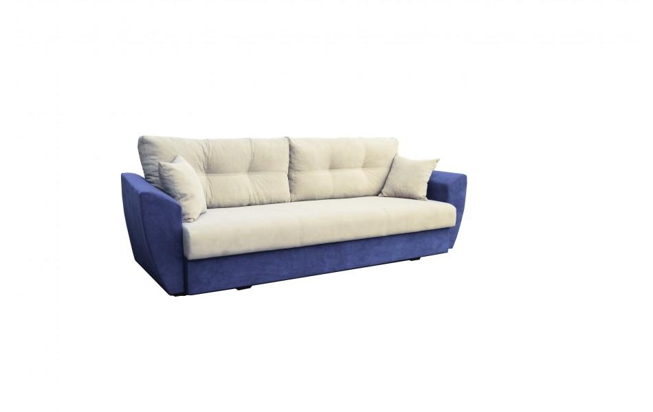 """Диван - кровать """"Фортуна"""" (велюр текстура крем / велюр текстура синий) LUXE/осн."""