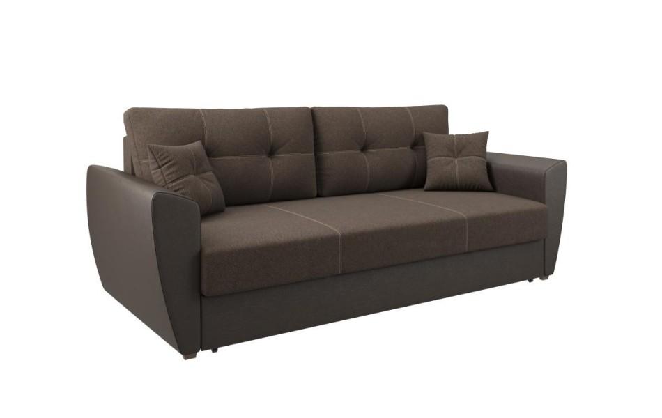 """Диван - кровать """"Фортуна"""" (рогожка коричневая / кож. зам коричневый КИТ) LUXE/осн."""