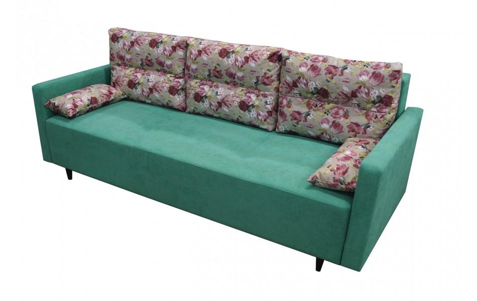 """Диван - кровать """"Каро"""" (микровелюр цветы красные/велюр Кэнди мята)/осн."""