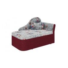 """Тахта """"Мася - 12"""" (микровелюр принт девочки / ткань астра красная) левый (в комплекте с подушкой) Н/осн."""