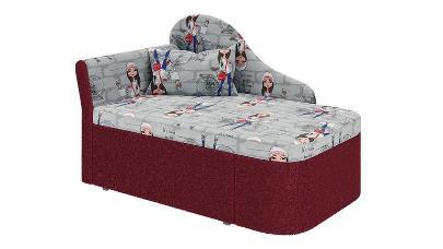 """Тахта """"Мася - 12"""" (микровелюр принт девочки / ткань астра красная) правый (в комплекте с подушкой) Н/осн."""