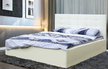 """Кровать двойная """"Виктория"""" (1400) (кож. зам. белоснежный TEX MILK) с откидным механизмом Н/осн."""