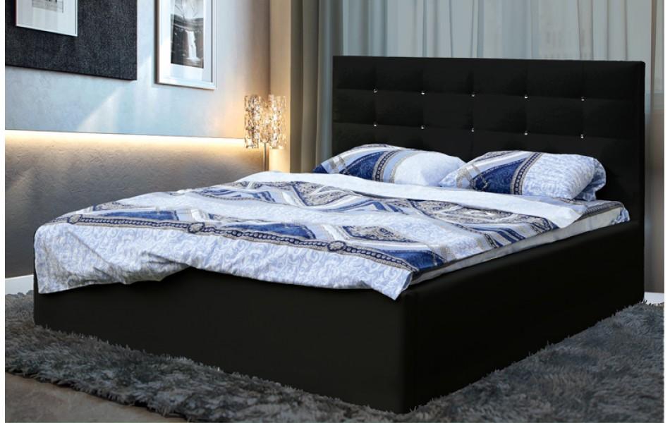 """Кровать двойная """"Виктория"""" (1600) (кож. зам. черный КИТ.) с откидным механизмом Н/осн."""