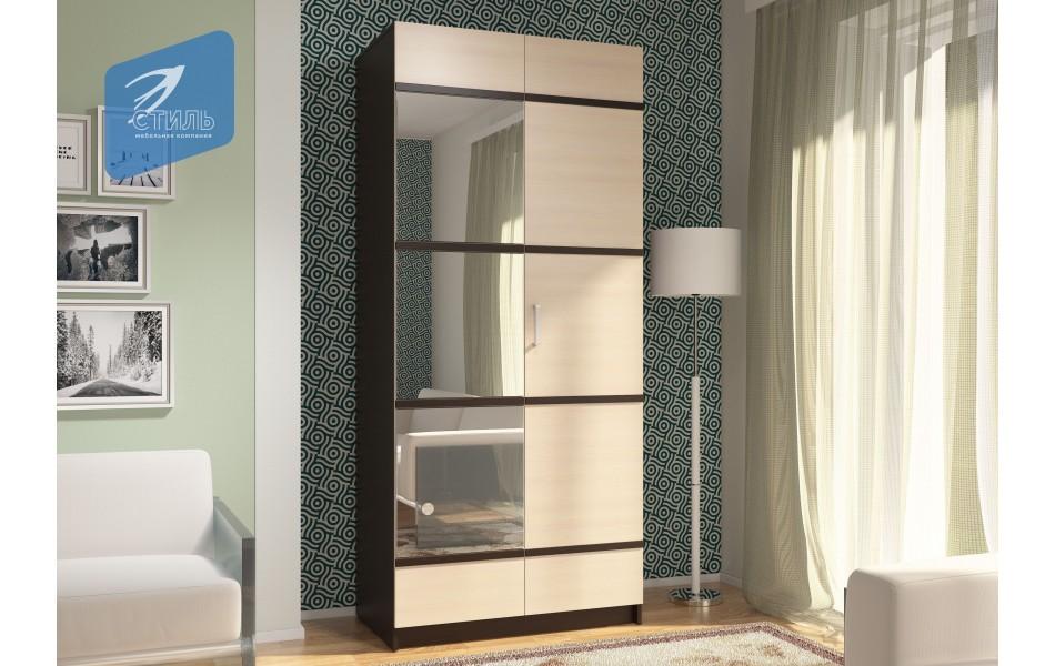 Шкаф «Эва ШК-024» с ПВХ декором с зеркалом