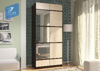 Шкаф «Эва ШК-023» с ПВХ декором с зеркалом